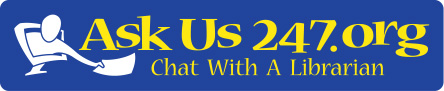 AskUs24/7 Chat With A Librarian logo and link